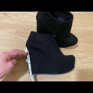 Black faux suede wedge bootie
